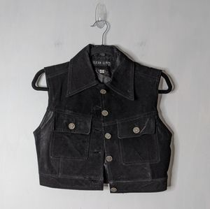 Vtg Leather Macedonia Coin Button Cropped Vest